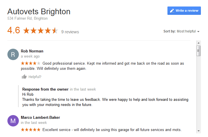 Leave a google review for autovets brighton